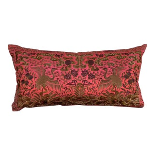 Hollywood Regency Coral & Gold Asian Chinoiserie Boudoir Pillow For Sale