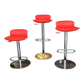 Room & Board Chrome Red Leo Stools - Set of 3