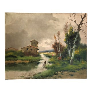 Vintage River Scene Stormy Sky Oil on Canvas Painting For Sale
