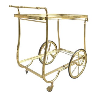 French Brass Two Tier Bar Cart For Sale