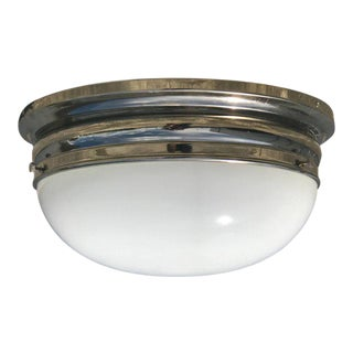 Modern Nickel & White Glass Flush Mount or Sconce