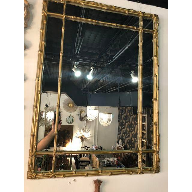 Vintage Faux Bamboo Gold Wall Mirror For Sale - Image 4 of 10
