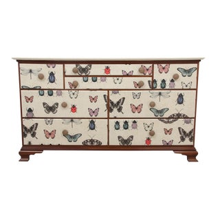1980s Shabby Chic Milford Cherry Dresser Wrapped in Insect Fabric For Sale