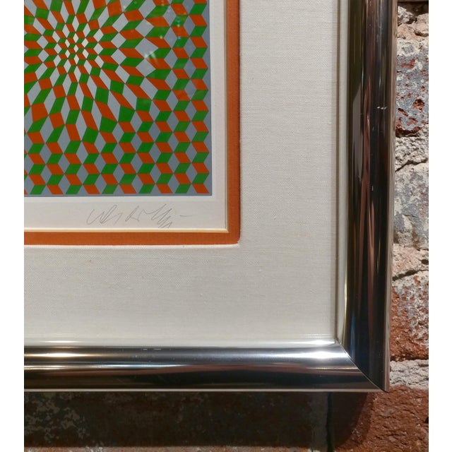 Green Vintage Victor Vasarely Geometric Abstract Serigraph, Signed For Sale - Image 8 of 10