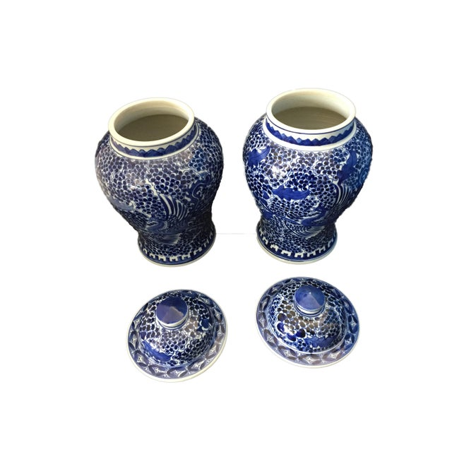 """1970s Blue & White Lidded Phoenix Ginger Jars - a Pair 14"""" H For Sale - Image 5 of 9"""