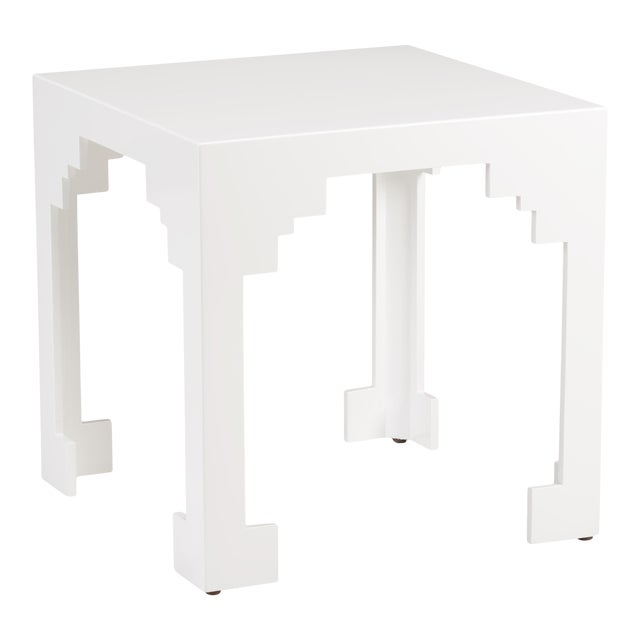 Cut Corner Table in White For Sale