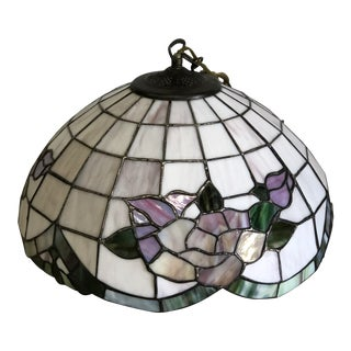 1980s Vintage Stained Glass Ceiling Lamp For Sale
