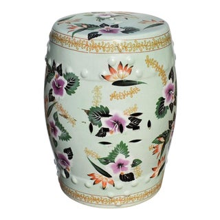 Chinoiserie Mint Green Ceramic Garden Stool With Floral Design For Sale