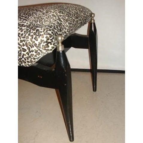 Leopard Print Upholstered Bench - Image 4 of 6