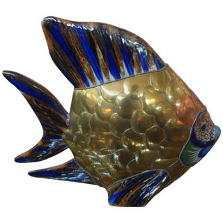 Mid-Century Mixed Metal and Pottery Fish Sculpture For Sale