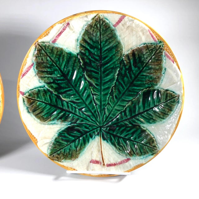 Victorian 19th Century Aesthetic Movement George Jones Majolica Chestnut Leaf Plates - a Pair For Sale - Image 3 of 6