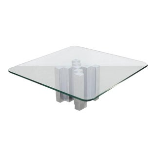 Huge and Massive Chrome and Glass Coffee Table Attributed to Willy Rizzo For Sale