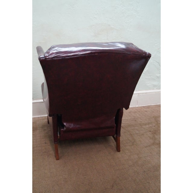 Quality Oxblood Leather Chippendale Wing Chair - Image 4 of 10