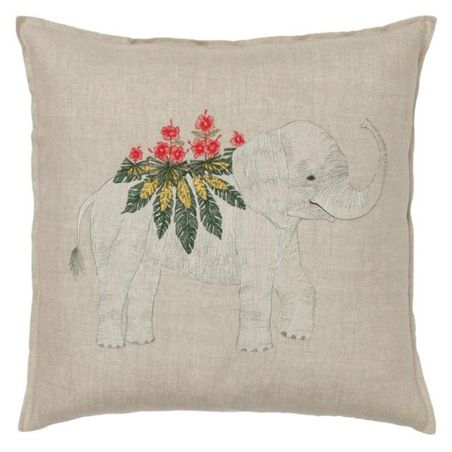 2010s French Ecru Linen Benevolent Elephant Pillow For Sale - Image 4 of 4