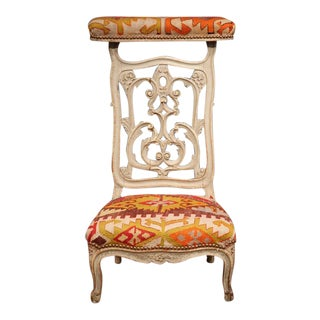 19th Century French Carved and Painted Antique Kilim Prie-Dieu Prayer Chair For Sale
