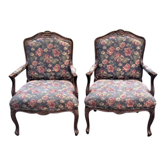 20th Century French Provincial Louis XV Style Armchairs - a Pair For Sale