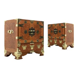 Teak and Burl Wood Chinese Campaign Nightstand With Brass Fittings For Sale