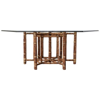 McGuire Style Organic Modern Bamboo Hexagonal Dining Table For Sale