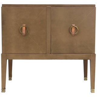 1940s French Leather Cabinet For Sale