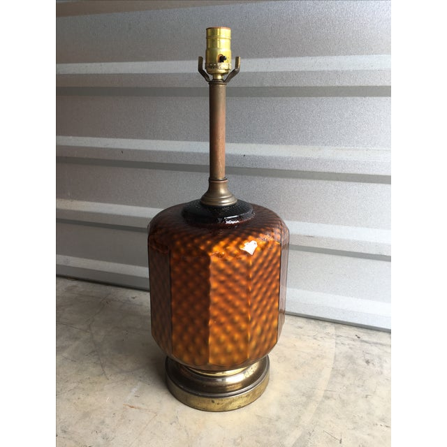 Mid Century Brass & Amber Glass Lamp - Image 2 of 6