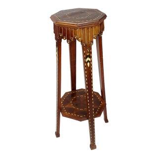 Vintage Middle Eastern Syrian Moorish Bone Inlaid Pedestal For Sale