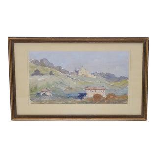 """Vintage Rome, Italy """"Monte Mario"""" Watercolor C.1937"""