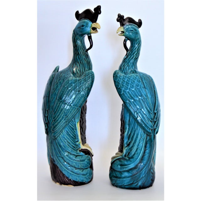 Abstract Extra Large Antique 1940s Chinese Porcelain Phoenix Bird Figurines - a Pair-Oriental Sculpture Asian Mid Century Modern Palm Beach Tropical Parrots For Sale - Image 3 of 13