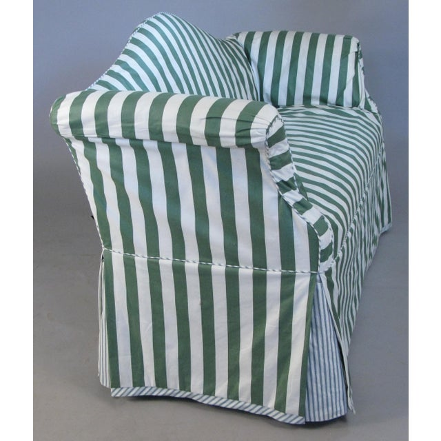 Petite Camelback Settees With Slipcovers in Green & White - a Pair For Sale - Image 4 of 10