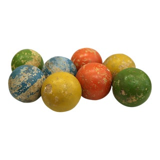 1950s Vintage Mid-Century Distessed Bocci Balls - Set of 8 For Sale