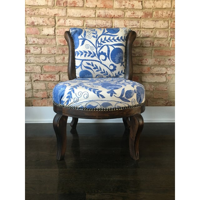 Vintage Slipper Chair With Suzani Upholstery - Image 2 of 7