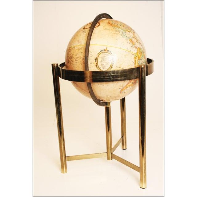 Mid-Century Modern Replogle World Globe W Brass Stand - Image 5 of 11