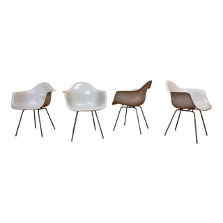 Ray and Charles Eames White Fiberglass H Base Arm Chairs For Sale