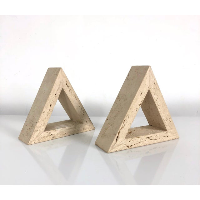 1960s Fratelli Mannelli for Raymor Triangle Travertine Bookends - a Pair For Sale - Image 10 of 10