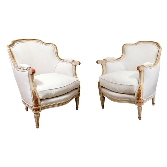 Pair of French Bergères For Sale