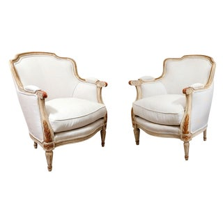 Pair of Late 19th Century French Bergères For Sale