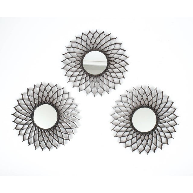 Mid-Century Modern Set of Three French Iron Sun Mirrors For Sale - Image 3 of 4