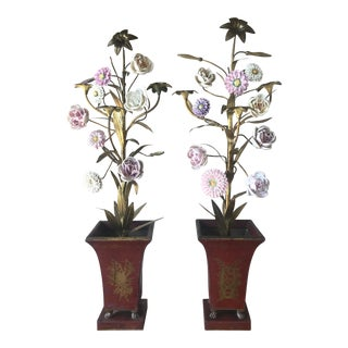 Tole and Porcelain Floral Arrangements - a Pair