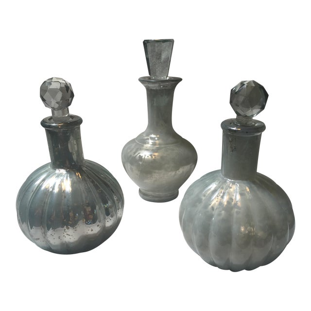 Mercury Glass Decanters - Set of 3 - Image 1 of 7