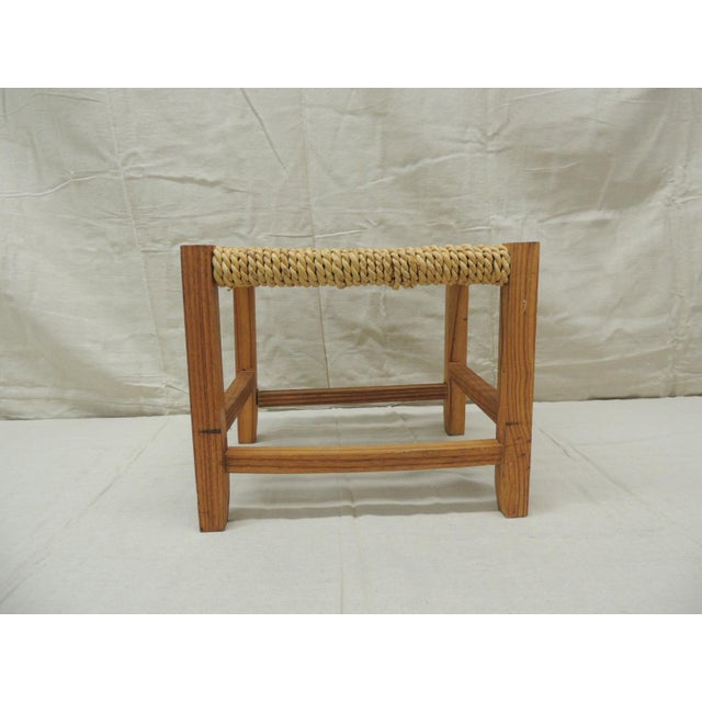 Wood Vintage Rectangular Shaker-Style Foot Stool With Seagrass Woven Seat For Sale - Image 7 of 7