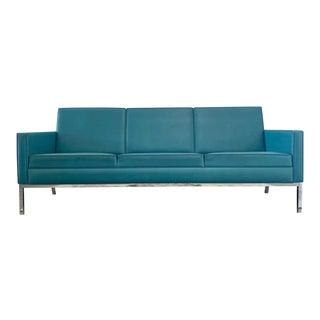 Mid Century Modern Steelcase Co. Blue Vinyl & Chrome Sofa For Sale