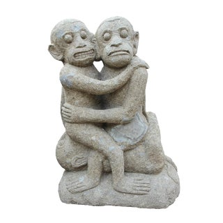 Stone Statue of 3 Embracing Monkeys For Sale