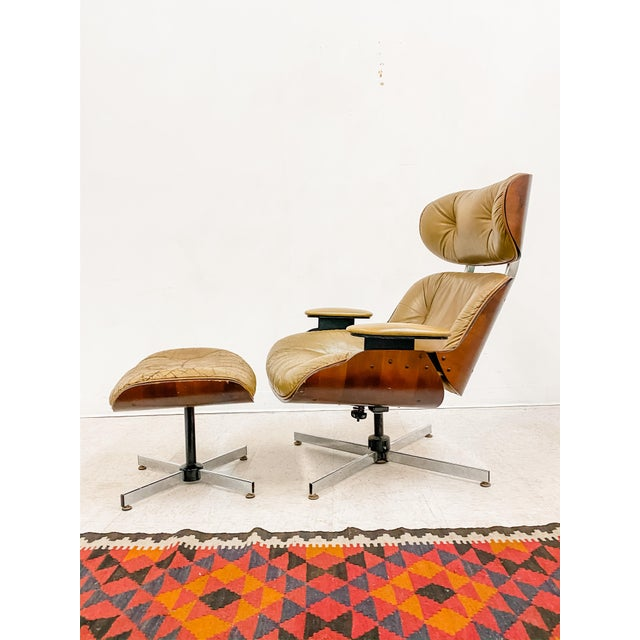1960s Vintage Plycraft Lounge Chair and Ottoman Set For Sale - Image 5 of 5