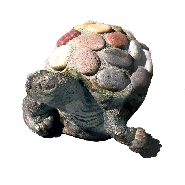 Concrete 1990s Vintage Organic Rustic Figural Desert Tortoise Statue For Sale - Image 7 of 7