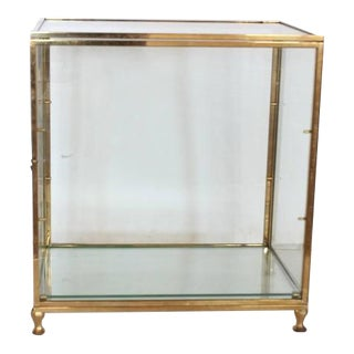 Early 20th C. Antique Table Top Brass Display Cabinet For Sale