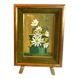 Image of Vintage Petite Still Life Daisies Signed With Gold Easel For Sale