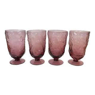 Vintage Seneca Driftwood Plum Footed Water Goblets - Set of 4 For Sale