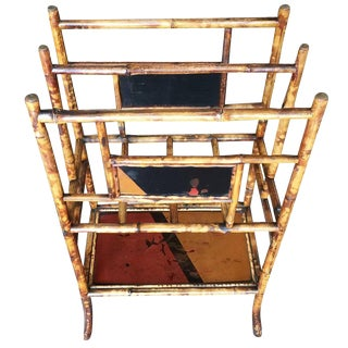 Restored Aesthetic Movement Large Two-Tier Tiger Bamboo Magazine Rack With Divider For Sale