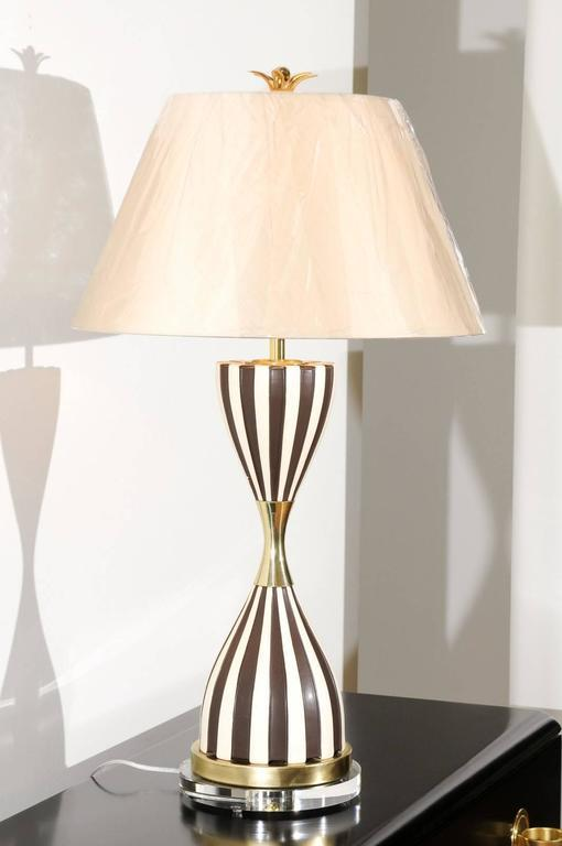 Sexy Pair Of Restored Hand Painted Hourglass Lamps In Chocolate And Cream    Image 5