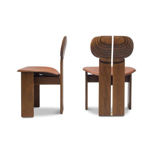 Brown Africa Chairs by Afra and Tobia Scarpa With Cognac Leather Seating For Sale - Image 8 of 12