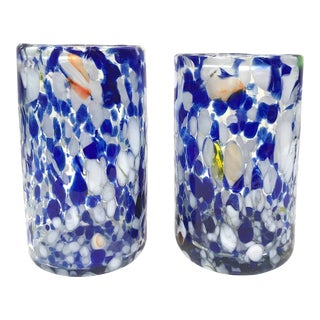 Vintage Italian Splatter Glass Tumblers - a Pair For Sale